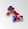 Three dimensional map of British in flag colors vector image vector image
