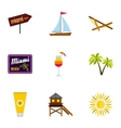 Tourism in Miami icons set flat style vector image vector image