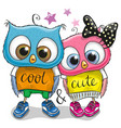 two cute owls on a white background vector image vector image