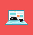 virus on laptop malware or network vulnerability vector image