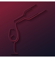 wine glass bottle paper cut background vector image vector image