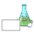 with board science beaker character cartoon vector image vector image