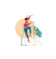 young handsome man climbs upstairs for repair work vector image vector image