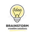 creative light bulb with text on white ba vector image