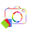 Abstract image of a digital camera and film vector image vector image