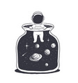 an astronaut is in a jar with space vector image vector image