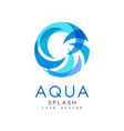 aqua splash logo design brand identity template vector image vector image