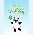 birthday card smiling cartoon bear panda with vector image