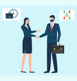 business conference man and woman handshake vector image vector image