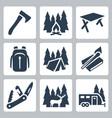 camping icons set axe campfire table vector image vector image