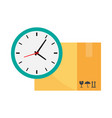 cardboard box and clock simple icon vector image