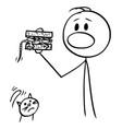 cartoon man eating a sandwich accidentally vector image