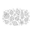 christmas balls silhouette hand drawn image vector image