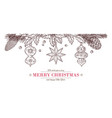 christmas sketch banner drawing merry card vector image vector image
