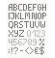 Cross stitch english alphabet vector image