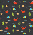 cute crab and fishes seamless pattern cartoon vector image vector image