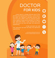 doctor woman and cute kids background poster vector image vector image
