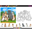 dog breeds cartoon coloring page set vector image vector image