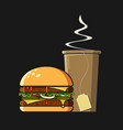 fast food icon flat style colorful vector image