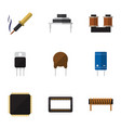 flat icon technology set of coil copper vector image vector image