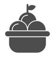 fruit basket solid icon basket of apples vector image vector image