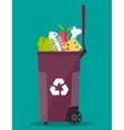 garbage bin container full of junk food vector image vector image