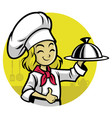 girl chef presenting the meal vector image vector image