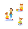 girl reading playing with toys walking with mom vector image vector image
