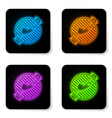 glowing neon barbecue grill with steak icon vector image vector image