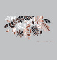 gray and rose gold leaves composition for header vector image vector image