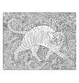 hand drawn cat against floral pattern vector image vector image