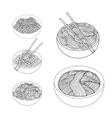 Hand drawn Noodles set Asian Cuisine vector image