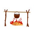 hot food cooking on campfire brown cauldron vector image