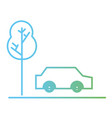 line car transportation in the road via with tree vector image