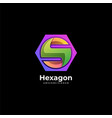 logo letter with hexagon gradient colorful style vector image