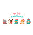 Merry christmas greeting card with cute cats