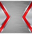 Metal perforated background with red elements vector image