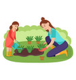 mother and daughter plant flowers in garden vector image vector image