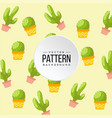 pattern cactus yellow color background imag vector image