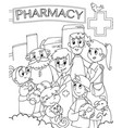 pharmacist and family outside a drugstore vector image vector image