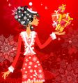 Santa girl with presents vector image vector image