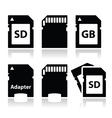 SD memory card adapter icons set vector image vector image