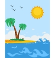 Sea Landscape Poster In Cartoon Style vector image vector image