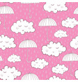 seamless pattern with cute sleeping clouds and vector image