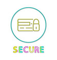 secure online shopping service round linear button vector image vector image