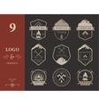 set badges camping and hiking vector image