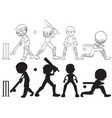 set of cricket player character vector image