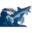 shark with open mouth in the sea flat vector image