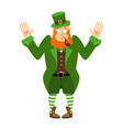 stpatrick s day leprechaun surprised dwarf with vector image vector image