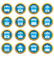 street food kiosk icons set simple style vector image vector image
